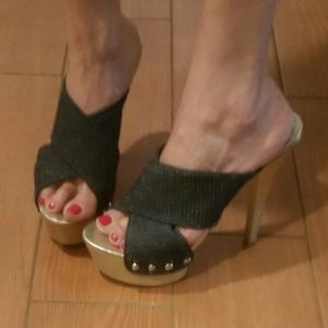 "Bebe 6"" Gold Platform Heels w/ Denim size 10"